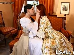Four gals who love lesbo fun are fingering and licking